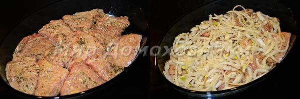Выложить мясо в форму, добавить лук