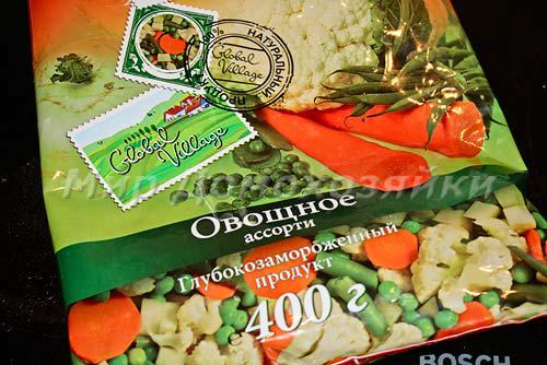 Выбираем овощное ассорти, где есть цветная капуста, стручковая фасоль и зеленый горошек