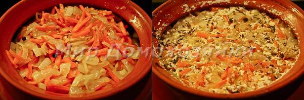 Мясо индейки и овощи сложить в горшочек и запечь