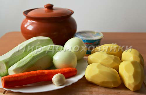 Ингредиенты для картошки с кабачками в духовке