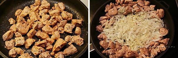 Обжариваем мясо и добавляем лук