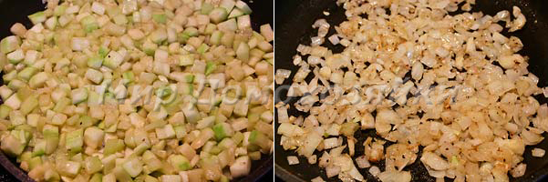 Лук и кабачки обжарить по отдельности и сложить в горшочек