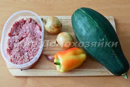 Продукты для овощной запеканки с фаршем