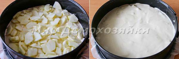 Залить пирог в форму и выложить яблоки
