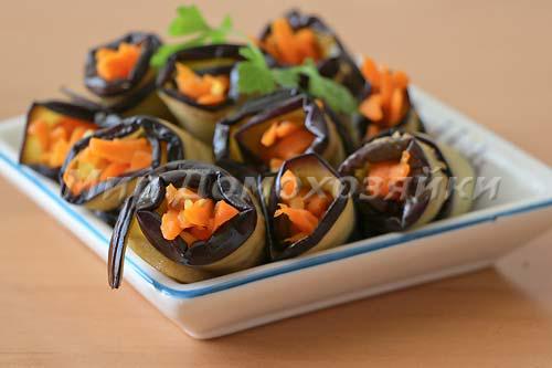 Рулетики с морковью по-корейски