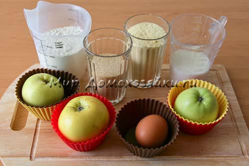 Ингредиенты для кексов с яблоками