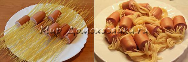 Сосиски с макаронами