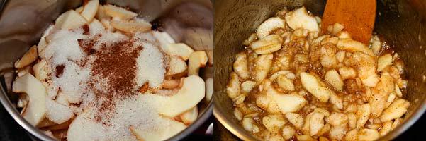 Готовим начинку для яблочного пирога