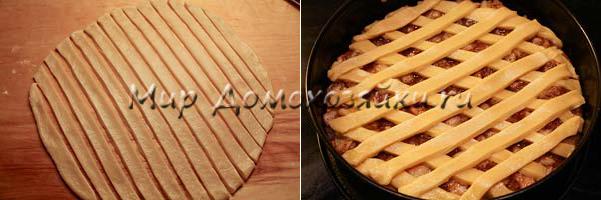 Разрезаем пласт на полосочки и накрываем верх пирога