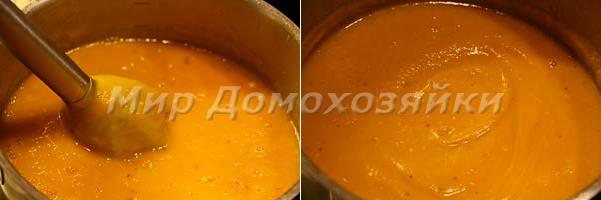 Пюрировать тыквенный крем-суп
