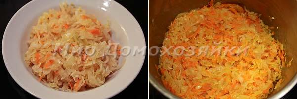 Квашеную капусту добавить к заправке и тушить
