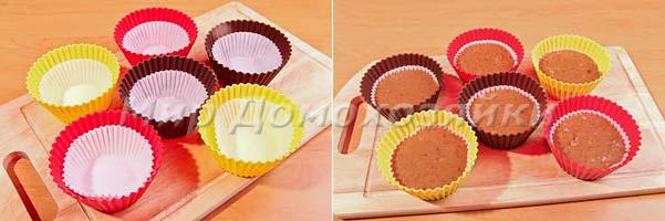 Разложить тесто по формочкам для кексов
