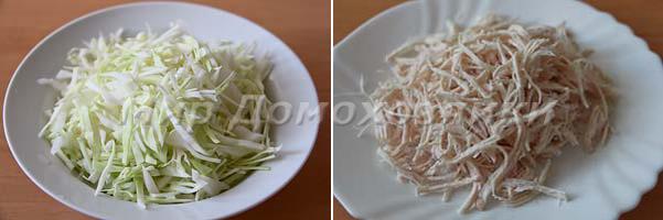 Мелко нарезать капусту и куриное филе