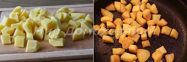 Гарнир для лисичек - картошка жареная крупными кусочками