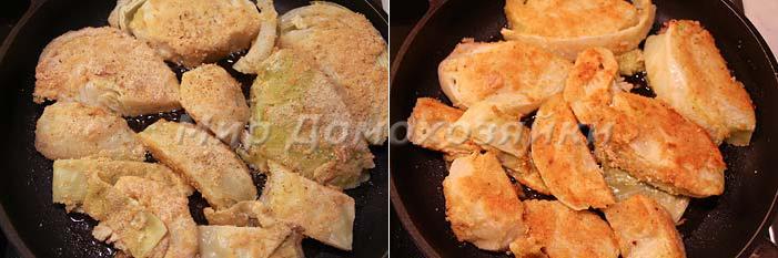 Обжарить куски капусты с двух сторон в сухариках