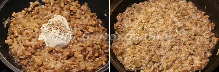 Потушить баклажаны, добавить сметану, соль, перец