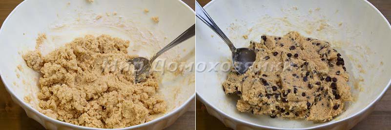 Тесто для печенья с шоколадной крошкой получается очень густым