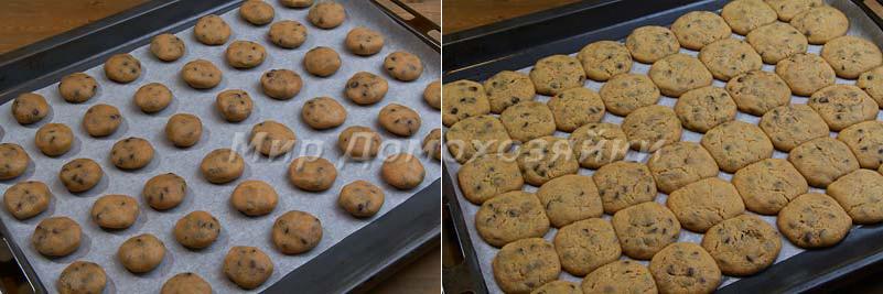 Скатывать шарики и выпекать печенье с шоколадной крошкой
