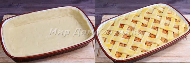 Раскатать тесто и уложить в форму для пирога