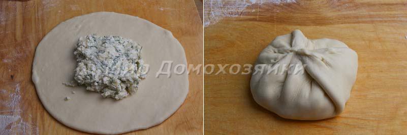 Раскатать лепешку и положить начинку для хачапури