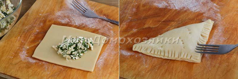 Начиняем треугольники сыром и зеленью