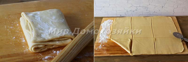 Быстрое слоеное тесто - разрезка