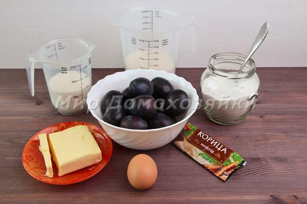 Ингредиенты для песочного пирога со сливами