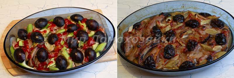 Свиные ребрышки уложить в форму и запечь в духовке