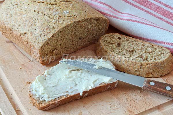 Домашний хлеб с отрубями - бутерброд