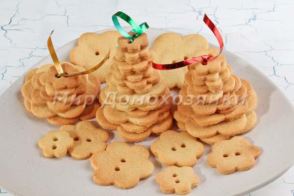 Новогодняя выпечка - ёлочки из простого песочного печенья
