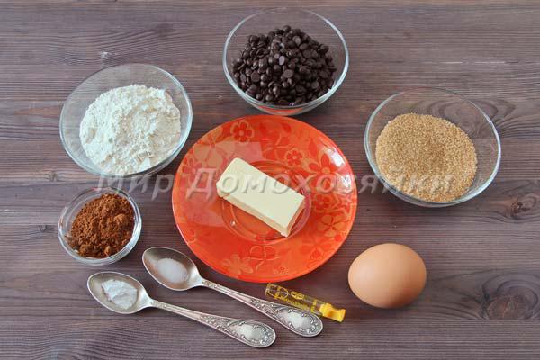 Шоколадное печенье брауни - ингредиенты