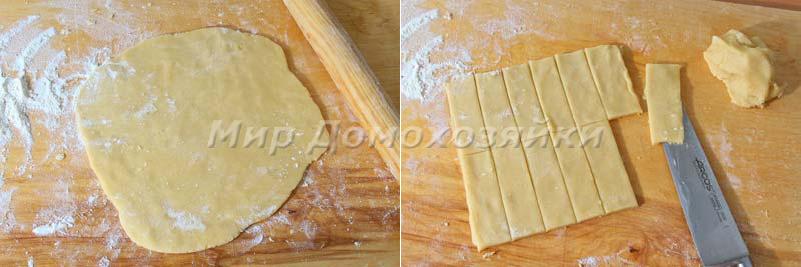 Раскатка и разрезка песочного теста для печенья