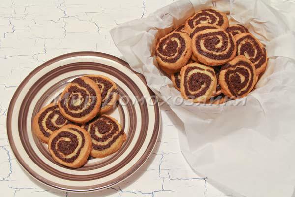 Шоколадное печенье Спиральки с ароматом ванили