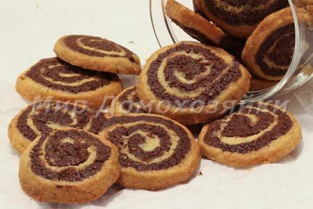 Шоколадное печенье Спиральки