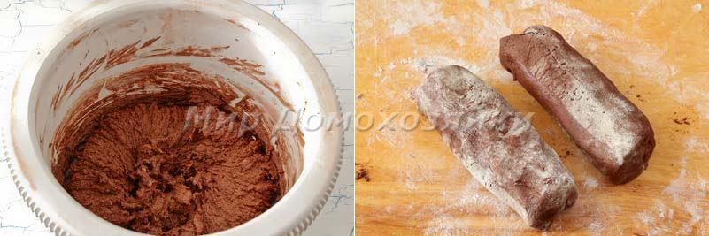Шоколадное печенье Спиральки - шоколадное тесто