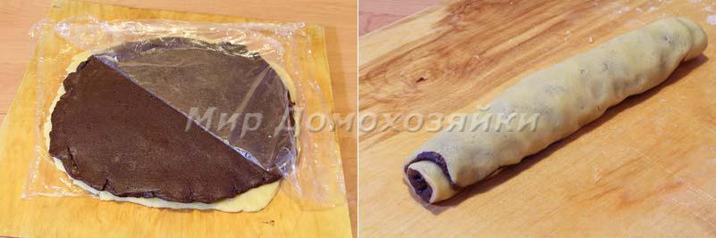 Раскатать тесто для шоколадного печенья Спиральки