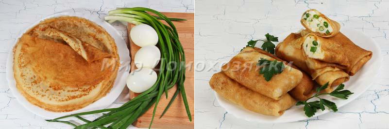 Блины с яйцом и луком