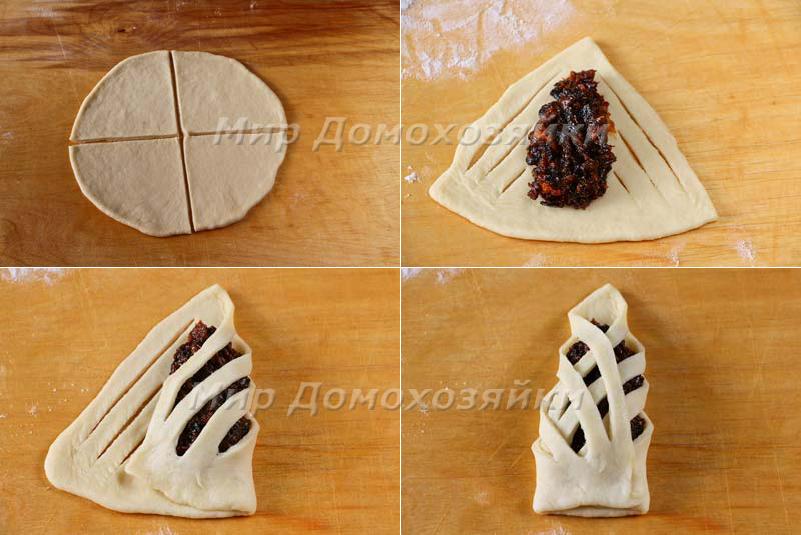 Как лепить пирожки из дрожжевого теста - вариант второй