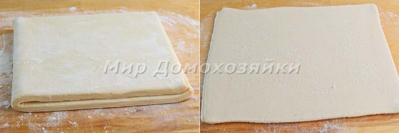 Пирог из слоеного дрожжевого теста - раскатка