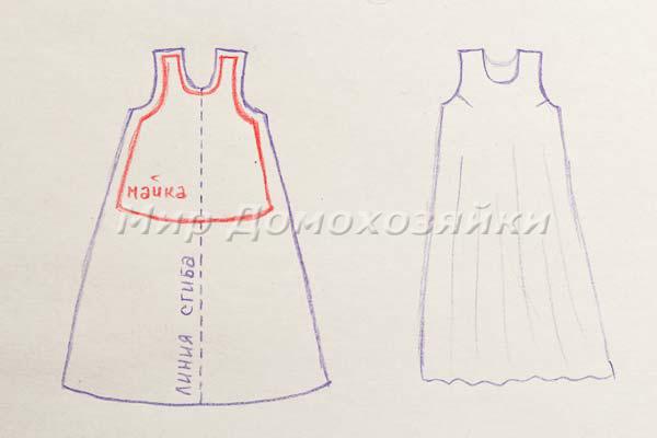 Платье без выкройки по майке - схема