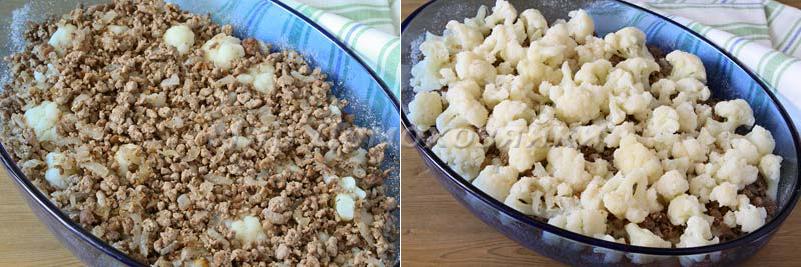 Выложить цветную капусту и мясо слоями