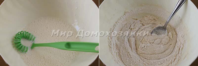 Тесто на кефире без дрожжей- замешивание