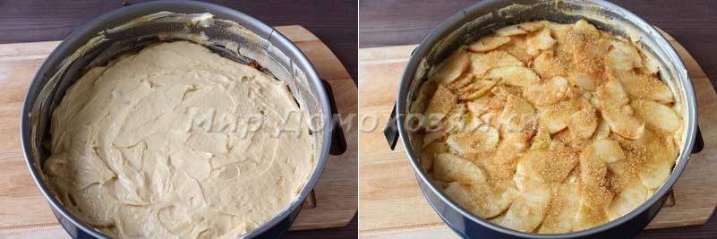 Яблочная шарлотка - слои пирога