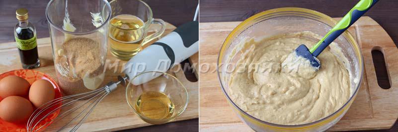Яблочная шарлотка - масляная смесь и тесто