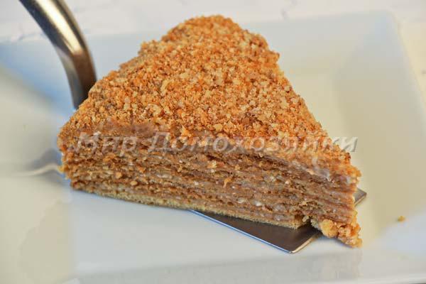 Торт медовик с заварным кремом в разрезе