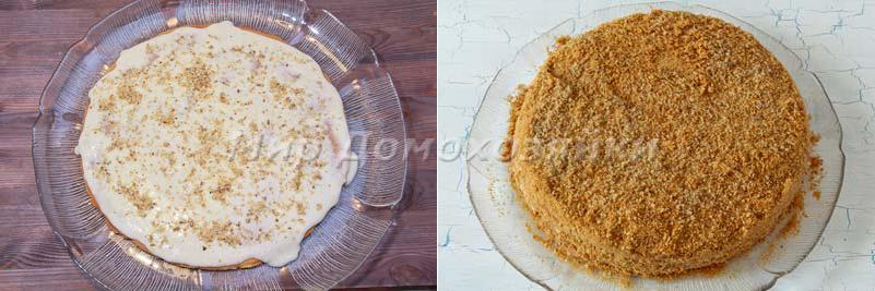Торт медовик с заварным кремом - сборка торта