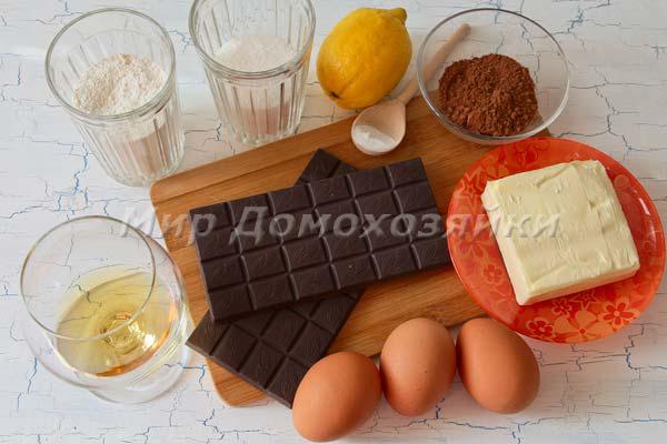 Ингредиенты для шоколадного торта брауни