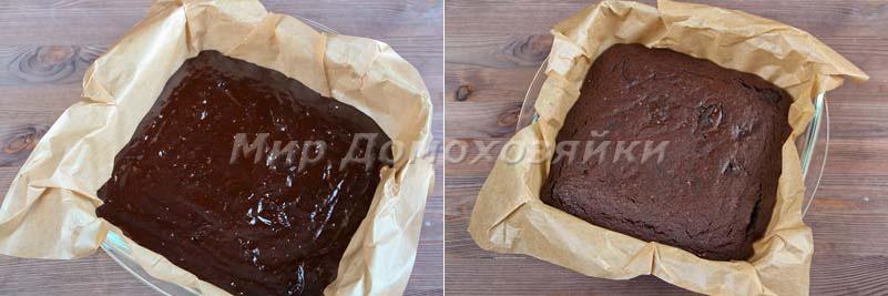 Шоколадный торт брауни - тесто и готовый