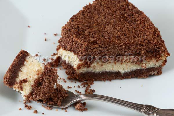 Творожный пирог с песочной крошкой из какао - торфяной - в разрезе