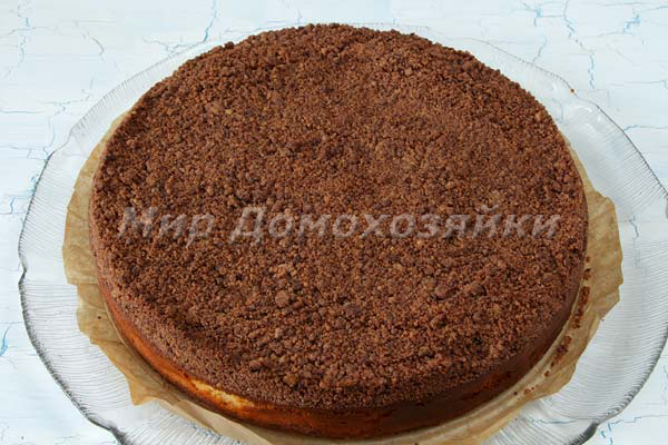 Творожный пирог с песочной крошкой из какао - торфяной